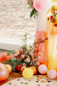 Whimsical and Colorful Wedding Decor, Pink, Orange, Yellow and White Fringe and Balloon Ceremony Backdrop | Tampa Bay Wedding Photographer Dewitt for Love