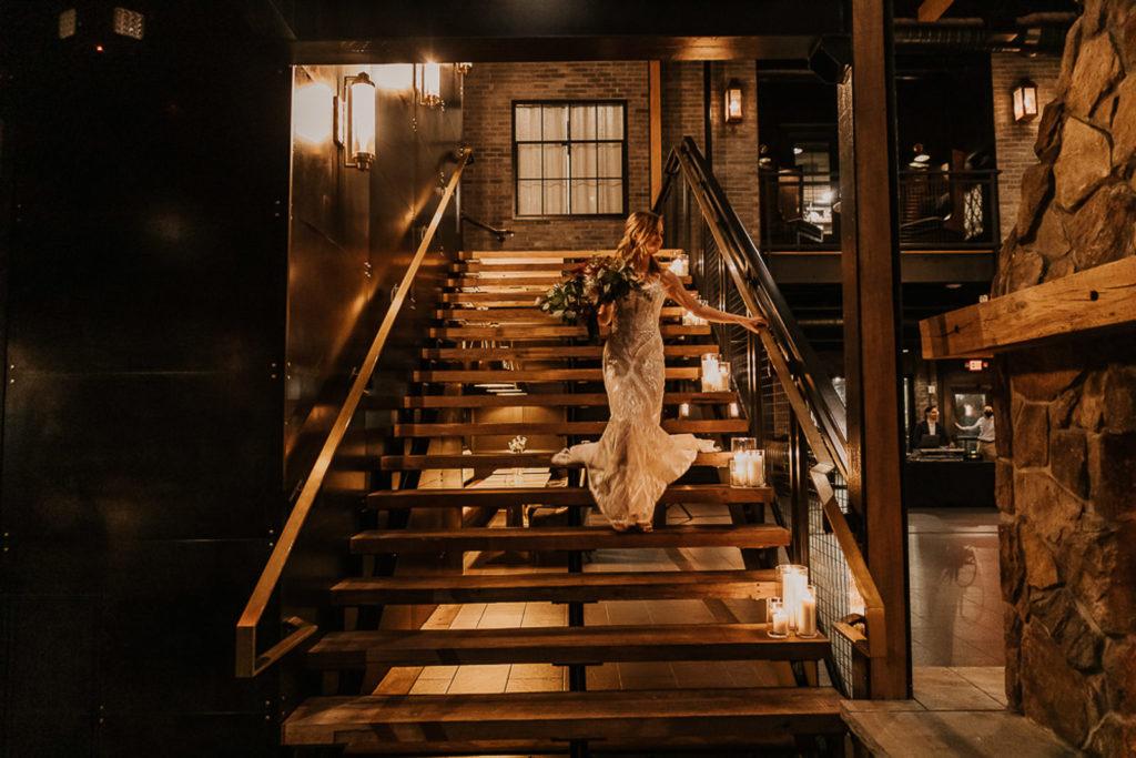 Romantic, Dark and Moody Wedding Ceremony | Bride Walking Down the Candlelit Aisle | Tampa Bay Wedding Venue Urban Stillhouse