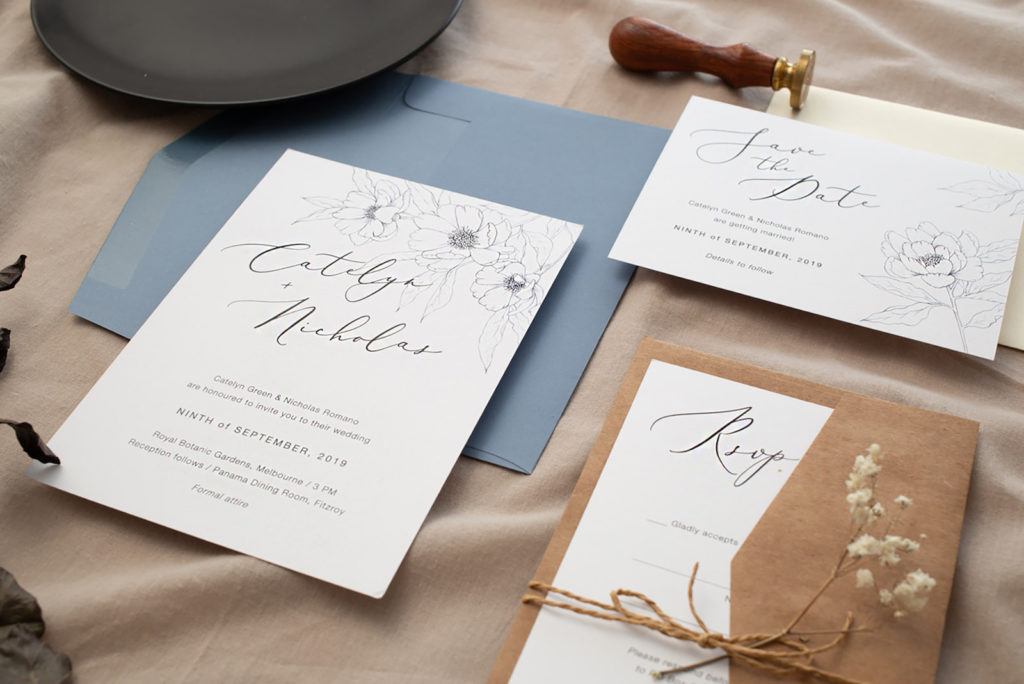 Rustic Boho Tan and Dusty Blue Wedding Invitation Suite with Handdrawn Sketched Flowers Stationery Ideas | Graphite Blooms - Paperlust