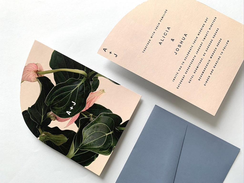 Elegant Modern Garden Floral Peach, Green, and Black Wedding Invitation Stationery Inspiration | Medinilla - Paperlust