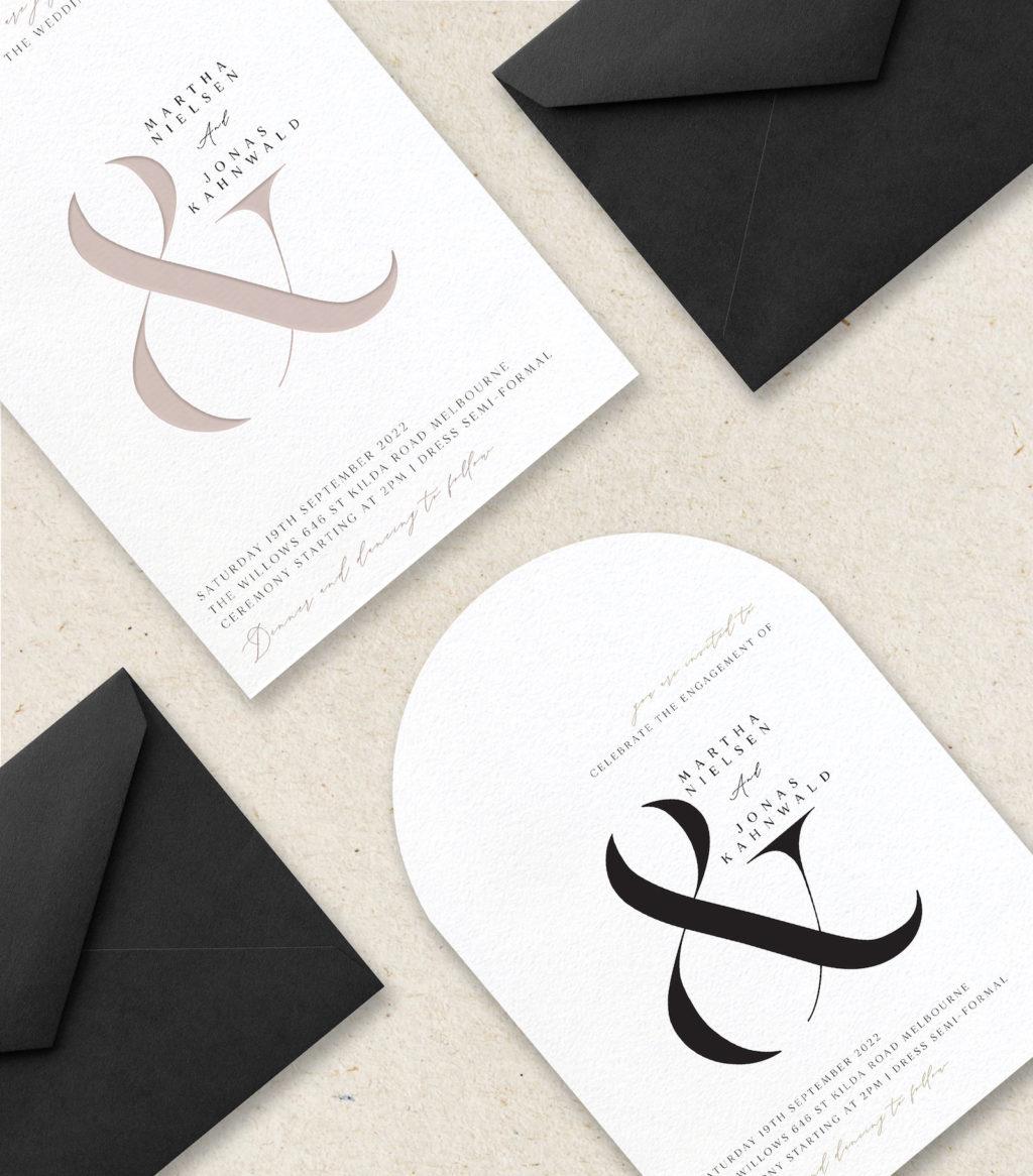Modern Beige and Black Wedding Invitation Stationery Inspiration | Tulips - Paperlust